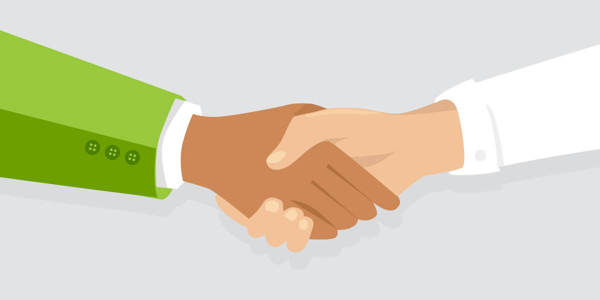 Illustration of two arms shaking hands - Build or Buy - Transformative Learning Strategies