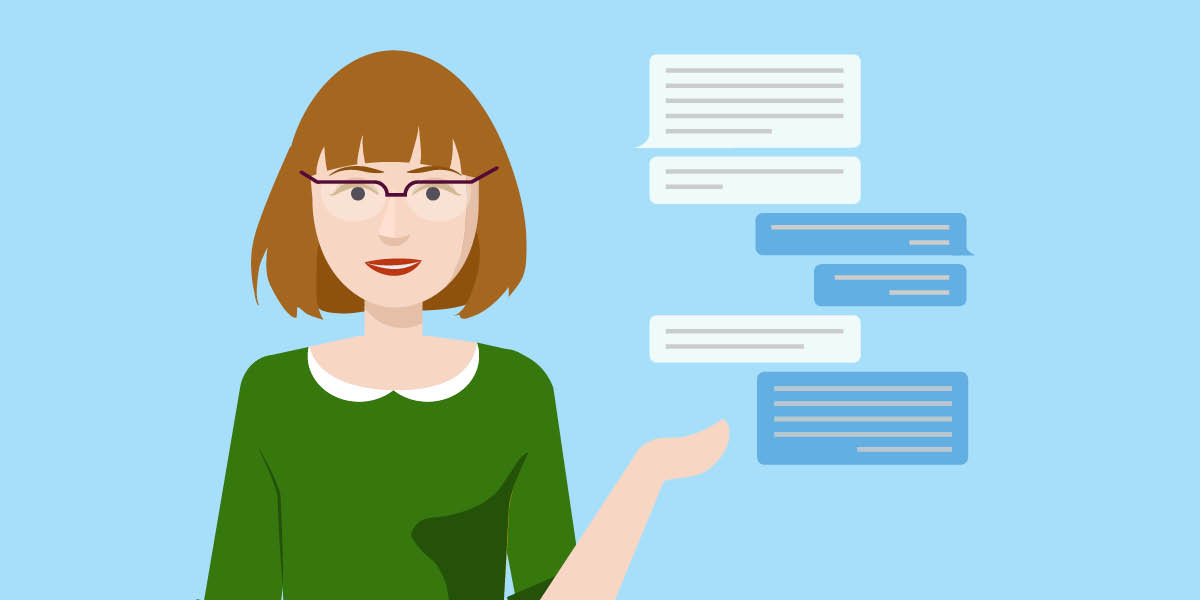 Illustration of woman with speech bubbles - Hero Image - Implementing-Modern-Learning-in-the-Digitally-Transforming-World
