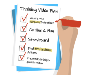 Checklist of corporate training videos plan with 5 steps checked off by a hand holding a red marker.
