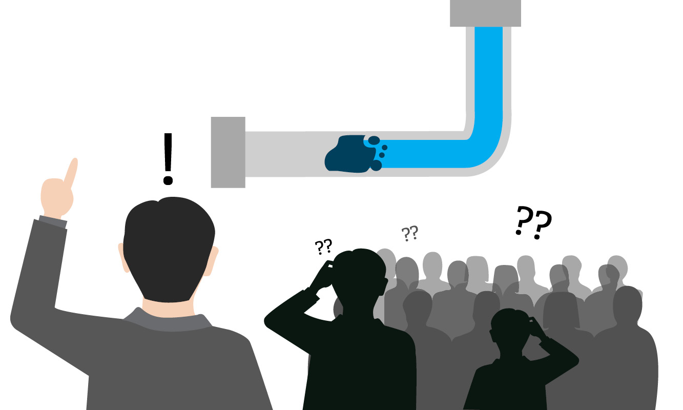 Modern learning initiative depicted in an image of a single individual realizing a solution and a crowd of dark shadows remaining confused. Water is pictured clogged in a pipe by debris and individual has idea of unclogging it.