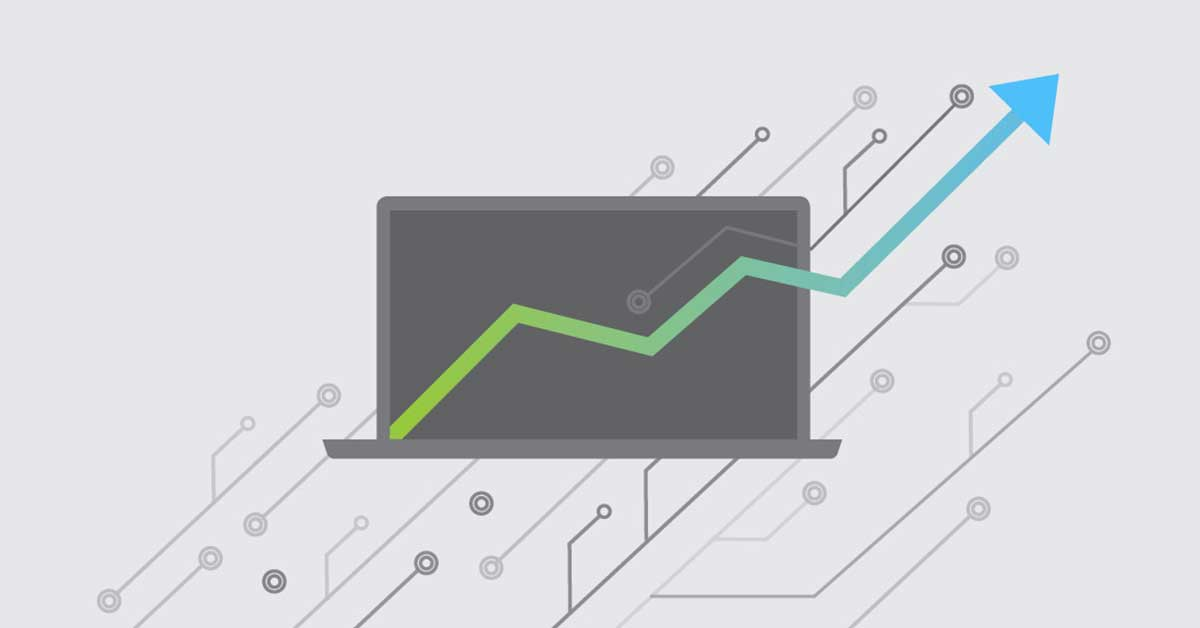 Computer with upward graph illustration - Strategies for Digital Transformation Blog Hero