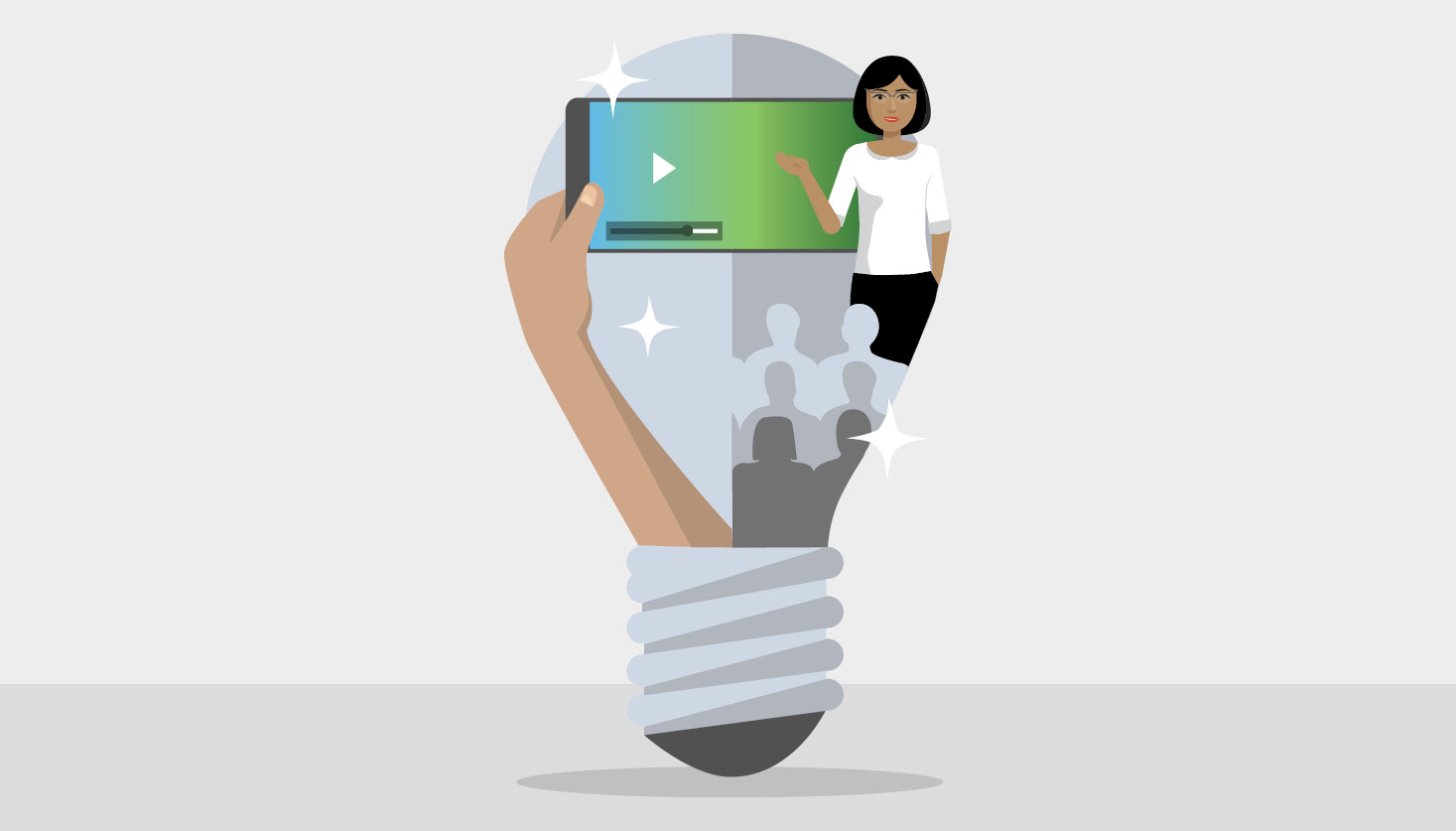 What is Blended Learning Hero - Illustration of lightbulb with teacher and tv.