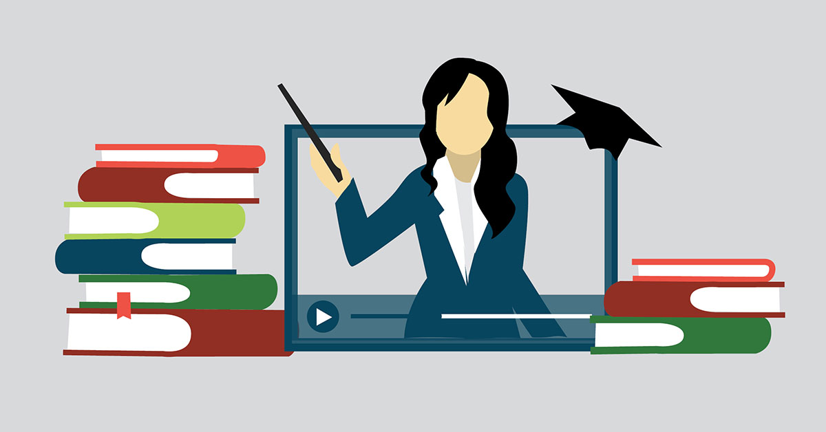 Illustration of a young teacher on computer in transformative learning lesson