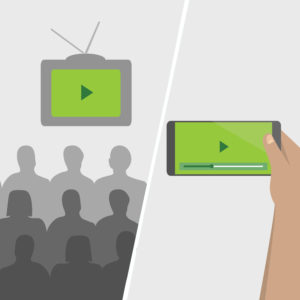 Illustration of people watching video on screen in classroom vs watching video on mobile phone