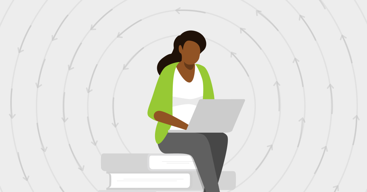 woman sitting on stack of books with computer to symbolize continuous learning